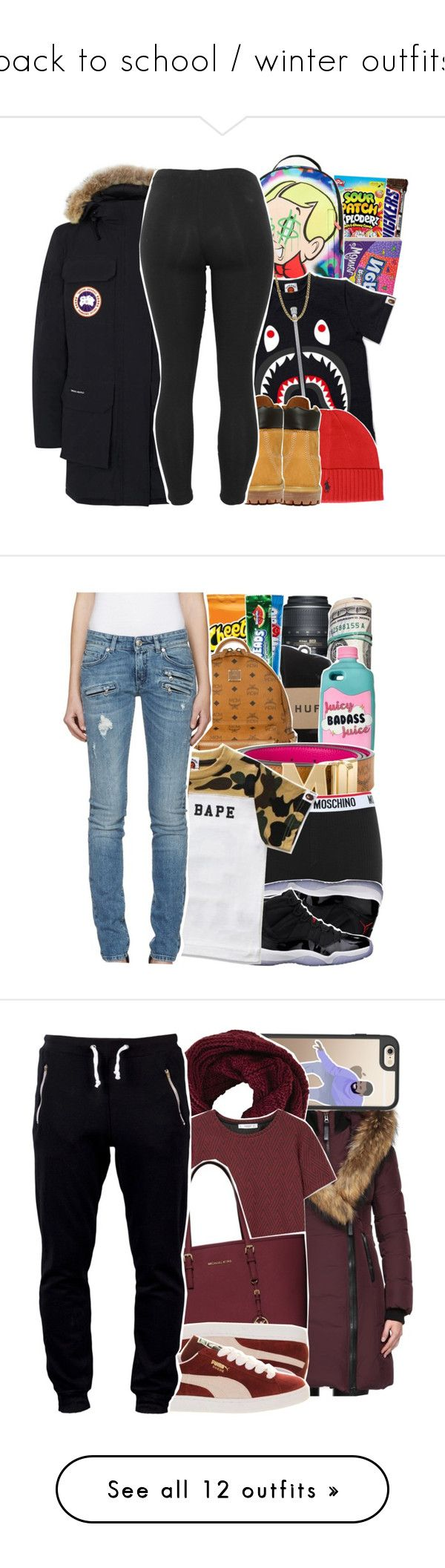 """""""back to school / winter outfits"""" by jas-karcash ❤ liked on Polyvore featuring Polo Ralph Lauren, Canada Goose, Timberland, Lauren Ralph Lauren, BackWithBape, Nikon, HUF, MCM, Moschino and Freaker"""