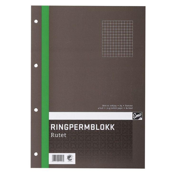 Ringpermblokk EMO A4 70g 80bl ruter