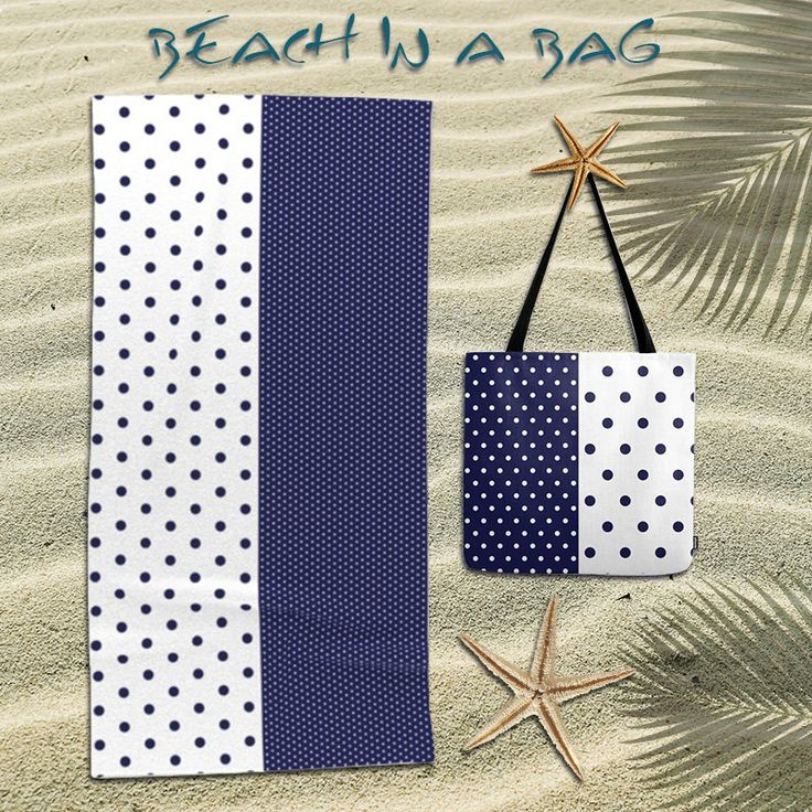 Navy dots tote bag,blue and white tote,Beach towel,oversized beach towel,polka dots tote,bundle,beach bag,beach tote bag,gift,Womens Totes by OkopipiDesign on Etsy