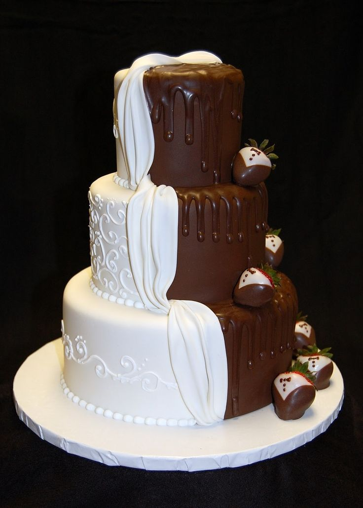 brown wedding cake and groom cake together 26 groom wedding 12195