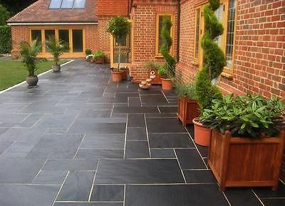 Blue-Black Slate Paving Slabs - Natural Patio Stone -New Grey Sawn Garden Flags in | eBay
