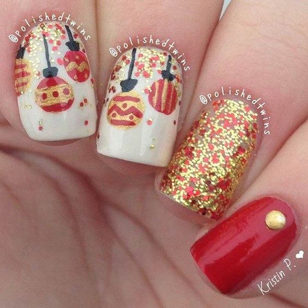 Christmas Baubles Nail Art Design.                                                                                                                                                                                 More