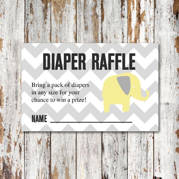 Baby Shower Insert – Diaper Raffle – Yellow Gray Chevron Elephant – Instant Download