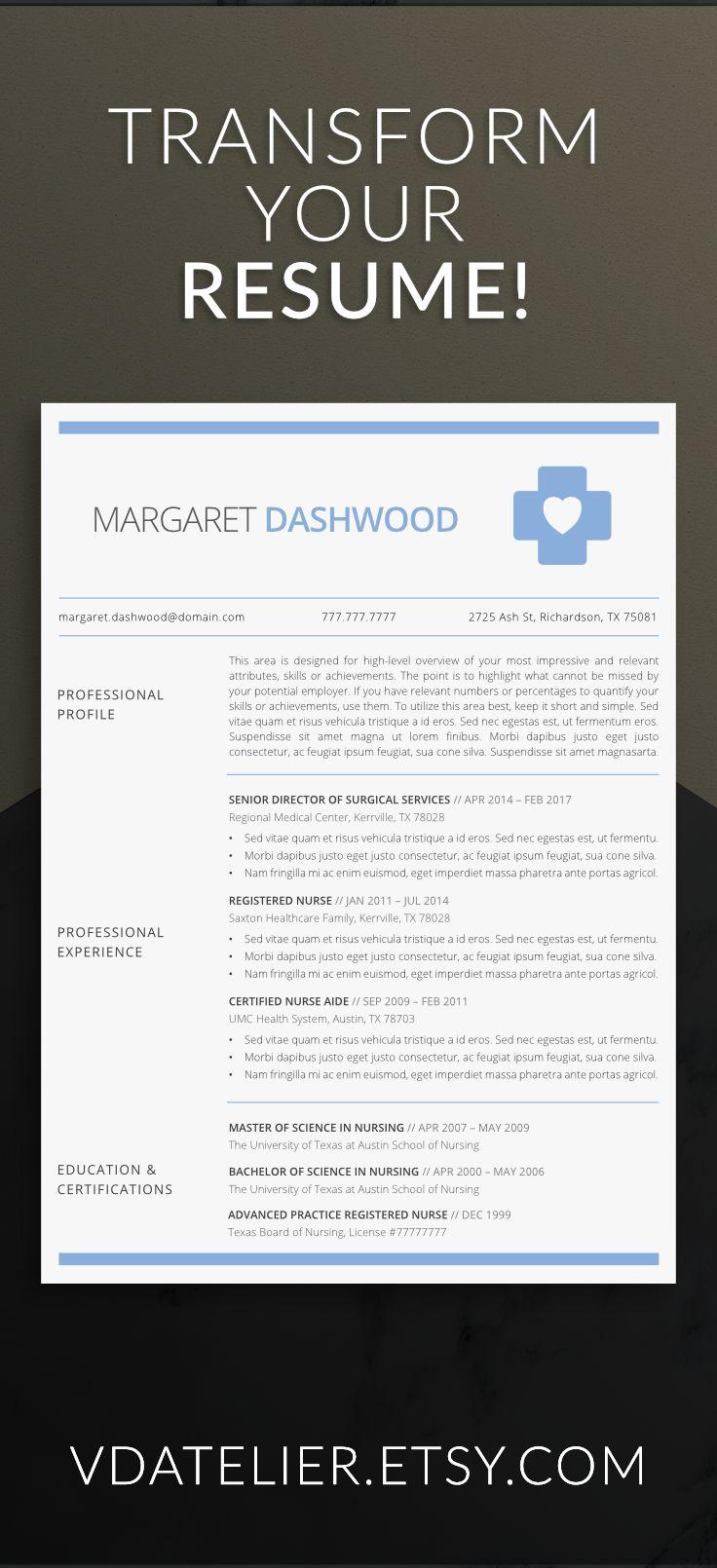 Nurse resume template for modern professionals. Suitable as medical resume for nurses, CNA, EMS or doctors.   #resume #resumetemplate #nurse #cna #rnresume #cv #curriculumvitae #ems #rnresume #jobsearch #jobs