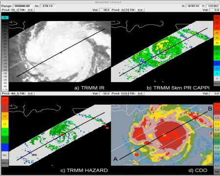 Four-panel analysis display showing the (a) TRMM infrared brightness temperature (°C), (b) TRMM radar reflectivity (dBZ) at 5 km altitude, (c) TRMM derived hazard product, and (d) CDO interest field of oceanic convective clouds associated with Hurricane Dean on 18 August 2007 at 13:44:11 UTC.. The TRMM derived product denotes regions where our criteria for hazard was observed based on the following