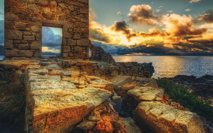 руины, virgin gorda, пейзаж, закат, british virgin islands, море, Верджин-Горда