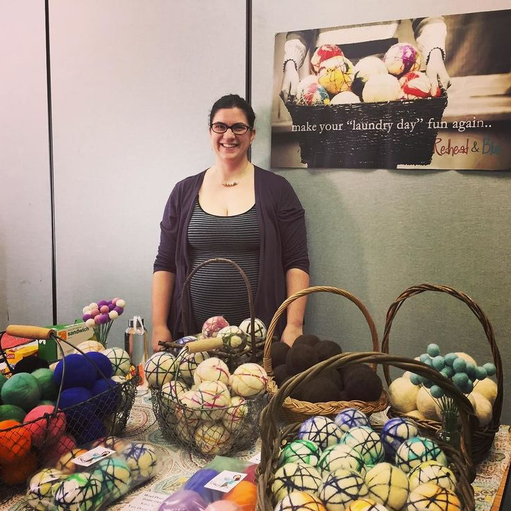 I'm at my VERY FIRST vendor event ever!!!!! I was asked to sell at a Young Living essential oil conference and these ladies (and two gentlemen!) are so passionate and excited about what they sell. I better be careful or I'll be a consultant by the end of the day ;) I'm all set up and ready to educate people about dryer balls diffuser balls and aromatherapy-tastic heating pads!!!