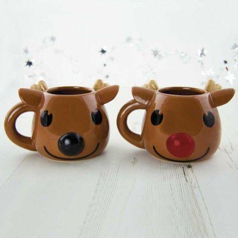 Pour un petit déjeuner le lendemain de Noël, nous vous présentons Rudolph, le renne au nez rouge !Et bien avec ce mug, son petit nez va changer couleur !