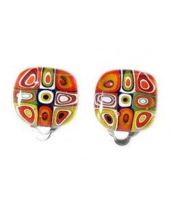 Handgemaakte clip oorbellen met kleurrijke millefiori cirkels!