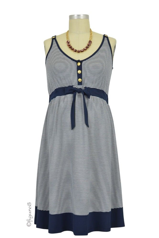 Seraphine Alana Sleeveless Nautical Nursing Dress in Navy & White by Seraphine with free shipping