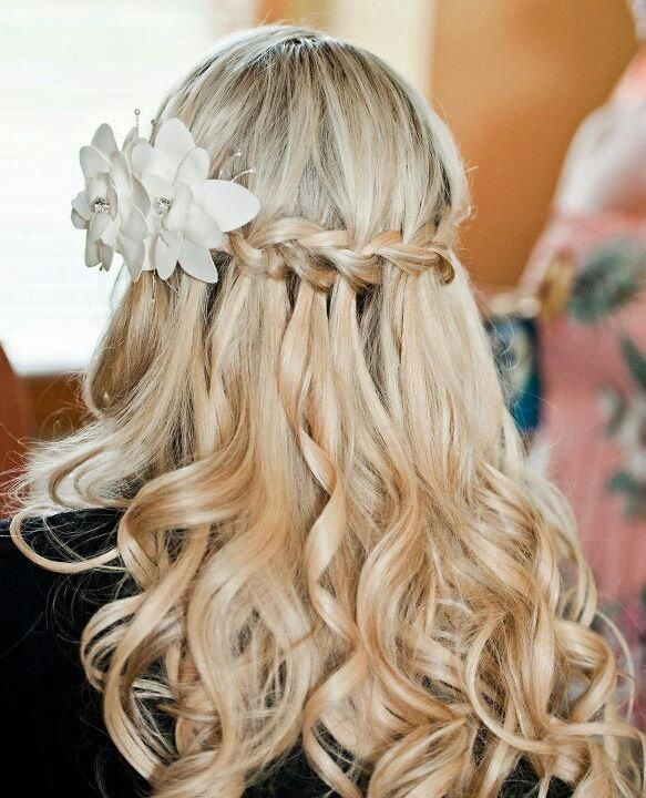 wedding hairstyles waterfall braid