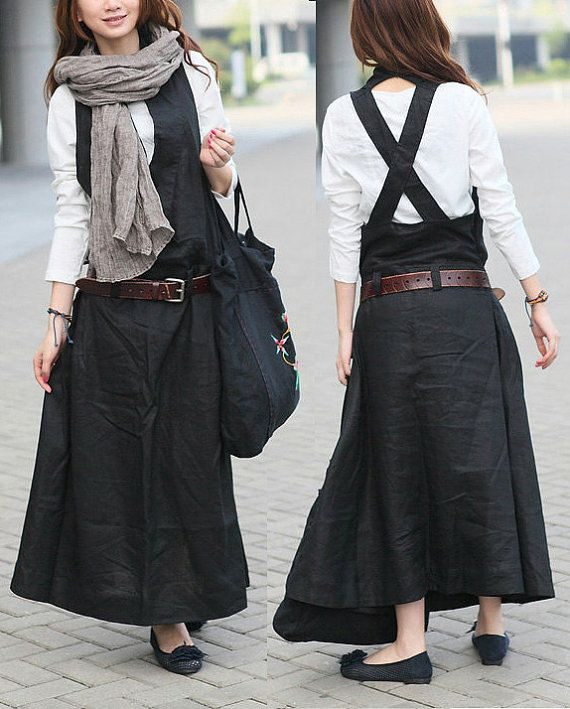 Stock Black Linen Halter Long Dress/ Maxi Sundress / Casual Dress - XL, XXL, plus size custom C1001