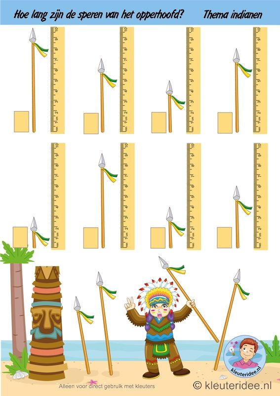 Hoe lang zijn de speren van het opperhoofd, thema indianen, kleuteridee, how long are the spears of the chief , theme Indians free printable, dia do índío