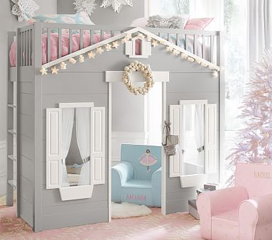 DIY Idea - Build a lofted kids bed with a playhouse below