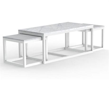 Sydney satsbord från Rowico. Sydney satsbord är ett snyggt och klassiskt bord som består av ett större bord 120x60x50 med mittstag plus 2 mindre bord 50x50x44 som man sätter under det större bordet under som ett satsbord. De små borden går också att använda som sidobord. Bordet har en marmorskiva i sand och ett svartlackerat träunderrede alternativt vitgrå marmor med vitlackerat träunderrede.