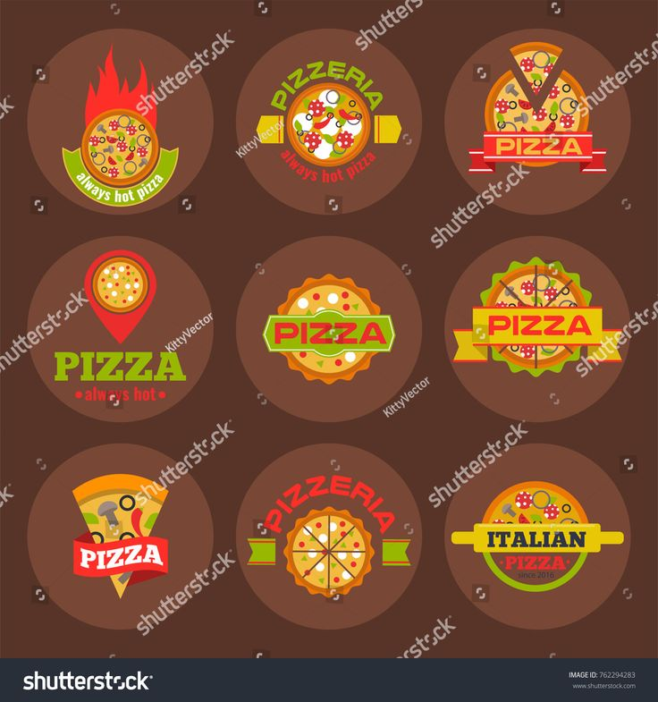 Delivery pizza logo badge pizzeria restaurant service fast food vector illustration.