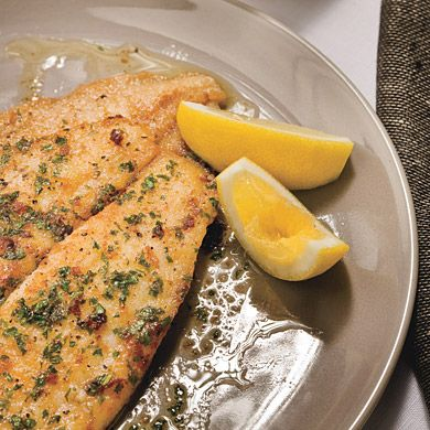 Been cooking my white fish this way for 4 decades. Never knew it had a French name. Browned butter has an intense flavor, so since hubby's heart attack (Did I say massive?), I've cut way back on the butter, added a little mild olive oil, & finished with no fat/no cal liquid butter. It's still great, just not worth dying for. ;)   ***       Classic Sole Meunière Recipe at Epicurious.com
