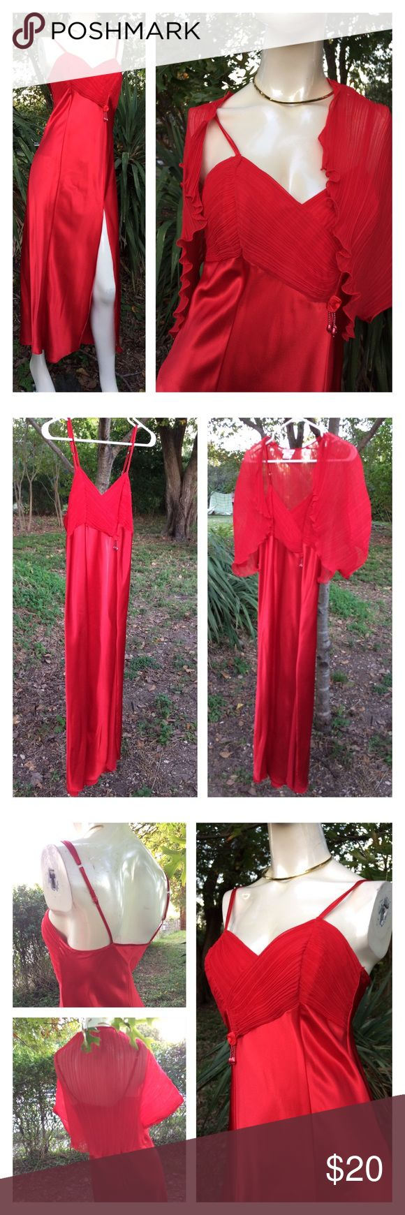 """Vtg Silky Red Chiffon Neglige & Shawl 80s Romantic Lipstick red long silky négligée with matching chiffon shawl - in excellent condition! No snags, stains, etc. Super sexy 💋💄💋 Tag is marked medium. 100% Poly. Measurements laid flat-  The shrug is free size, OSFM w 7.5"""" arm opening.  Neglige Shoulder to shoulder: n/a Underarm to underarm: 15.5"""" Waist: 17.5"""" Hips: 20"""" Shoulder to Hem: 53.5"""" Sleeve: n/a Thanks! Vintage Intimates & Sleepwear Chemises & Slips"""