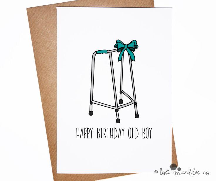 Birthday Card ∙ Funny Birthday Card ∙ His Birthday ∙ Card for Him ∙ Joke Birthday ∙ Rude Birthday ∙ Getting Older ∙ Happy Birthday Old Boy by LostMarblesCo on Etsy https://www.etsy.com/listing/185872859/birthday-card-funny-birthday-card-his
