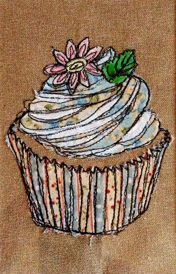 Original framed mixed media textile art Cup cake by KatieEssam