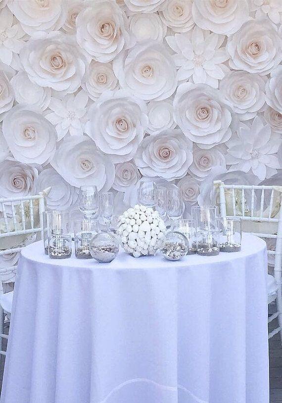 Large Paper Flowers Wedding Backdrop Paper by MoniquePaperArt