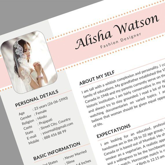Marriage Resume Template Word Resume For Marriage Marriage Etsy In 2021 Bio Data For Marriage Resume Template Word Marriage Biodata Format