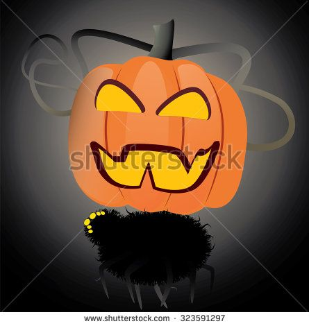 halloween pumpkin over ugly spider