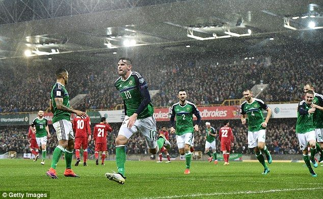 Kyle Lafferty opened the scoring for Northern Ireland in their 4-0 win over Azerbaijan