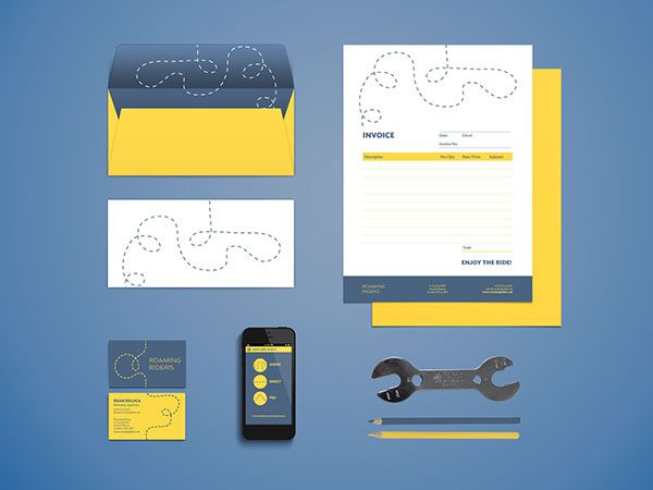 Roaming Riders - Branding for Bicycle Store by Lua Cortes, via Behance - stationary, letter head, business card, dotted line, logo, bike shop, mobile app, identity