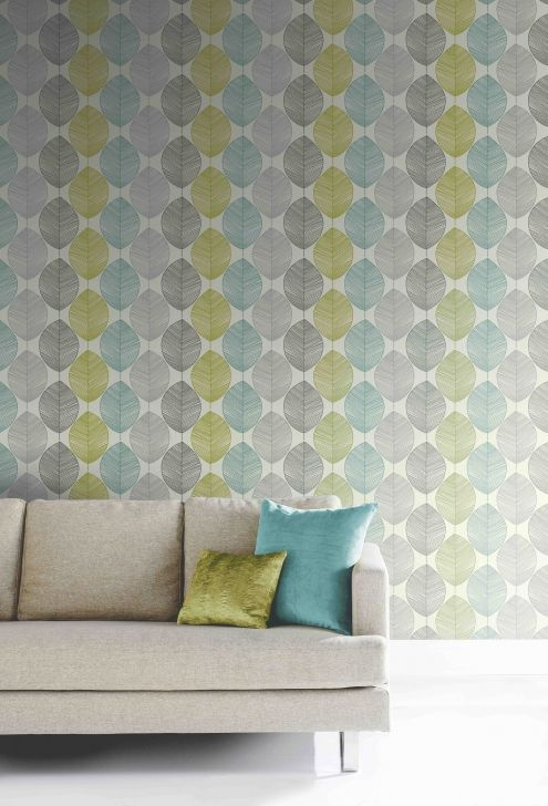 Opera retro leaf teal and green wallpaper opera for Teal wallpaper living room