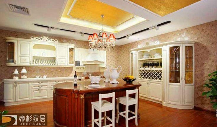 foshan modern style Solid wood kitchen cabinet