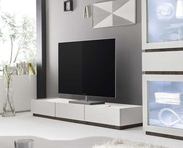 Mobile portatv moderno dal design minimal 3 cassetti strutture e frontali bianco