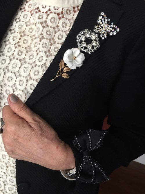 Wearing three brooches on a lapel on BrendaKinsel.com