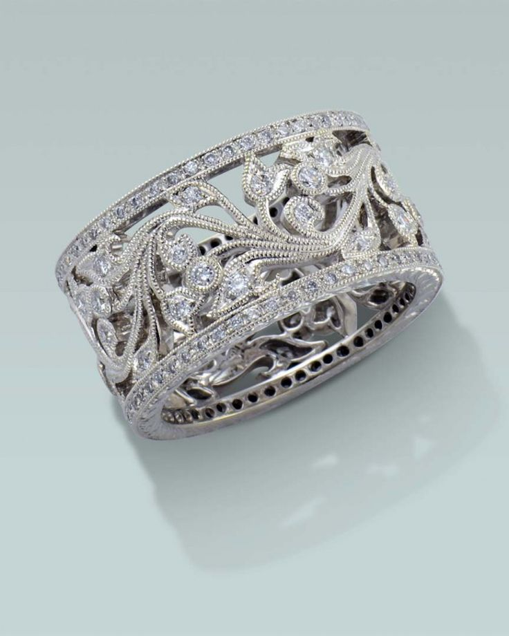 Wide Filagree Diamond Ring Engagement Rings Fine