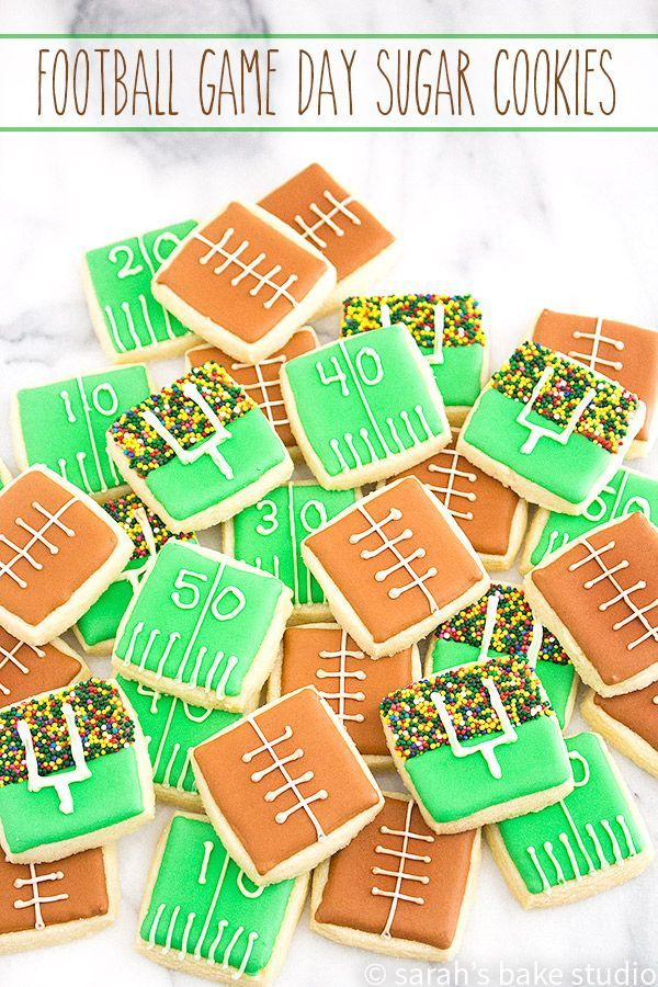 Football Game Day Sugar Cookies – bite-sized, cutout sugar cookies decorated with football game day awesomeness! via /SarahBakeStudio/