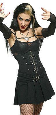 "LIP SERVICE Gangsta Pranksta ""Chelsea's Totally Stacked"" waist cincher corset #53-180 - black/white size M  & ""Slip 'Er A Micky"" mini skirt #53-72 - black/white size XL"
