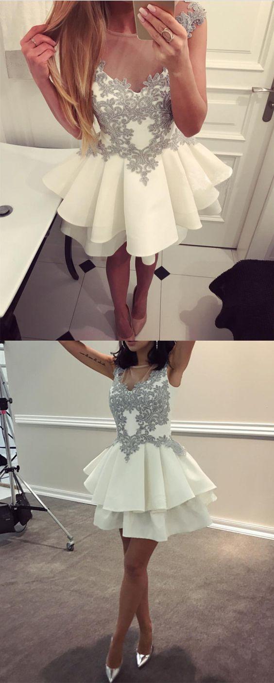 Cute aline ruffle satin short white prom dress lace appliques