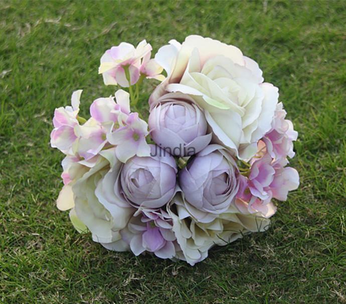 Fake Hydrangea Roses Silk Flowers Wedding Decor Bridal Foral Bouquet Decor #UnbrandedGeneric