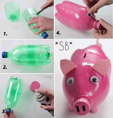 Hucha hecha con botellas #reciclaje #DIY #manualidades