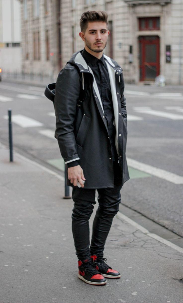 princeinjeans: Black outfit : - Jacket Stutterheim - Pants by LANOIR - Air jordan 1 Bred - Model: Nicolas Lauer - Photograph : Lucas Jesus Chaunay