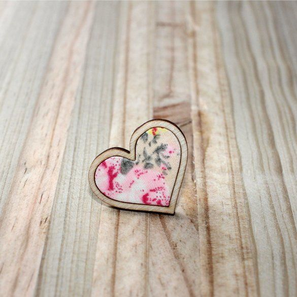 Kosbaar   Heart Ring   Timber & fabric inlay   Natural background with pale pink floral pattern   Handmade in Cape Town, South Africa