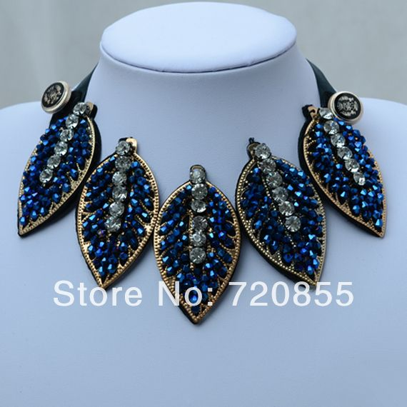 False Collar Necklace Handmade,2014 New Arrival,Blue Crystal & Rhinestones Big Choker necklaces for Women,Length:Can adjustment