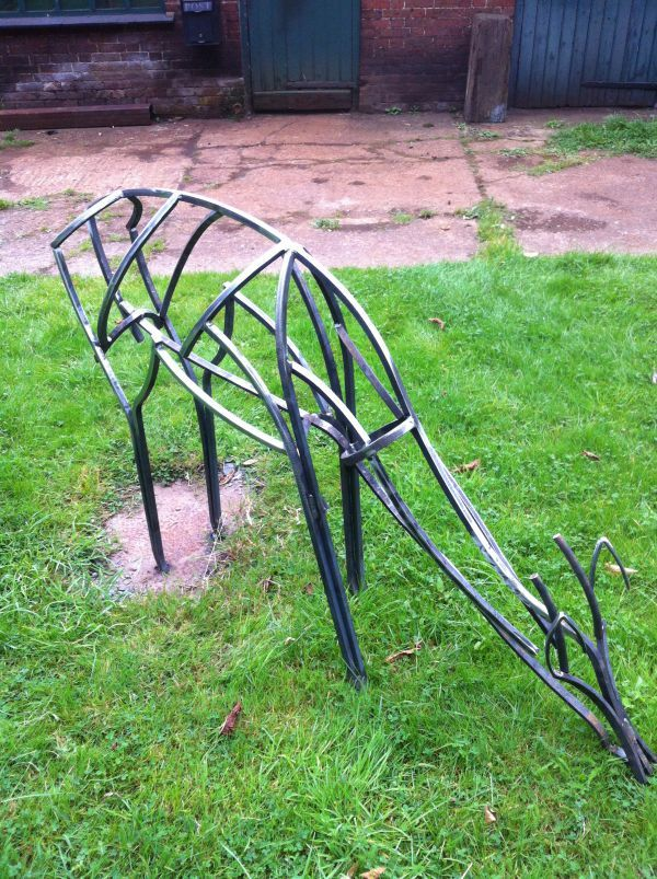 Steel Garden Or Yard / Outside and Outdoor sculpture by artist Adrian Payne titled: 'Roe Deer (Feeding Semi abstract Minimalist Steel Bar sculpture statue)'