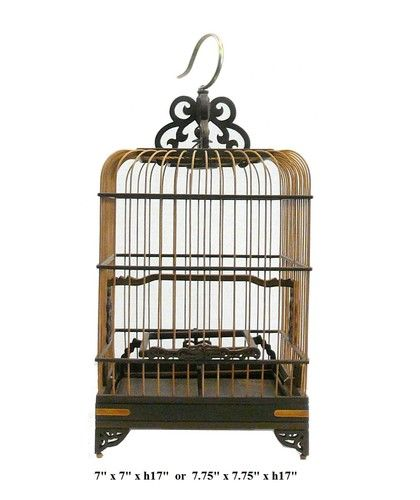 Chinese Bamboo Rosewood Square Decor Birdcage VS916 | eBay  Wow -good thing I didn't throw mine out!