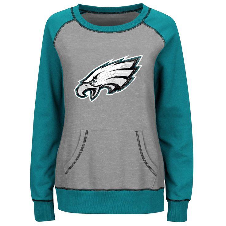 Philadelphia Eagles Majestic Women's Overtime Queen Crew Neck Sweatshirt - Gray/Midnight Green - $43.99