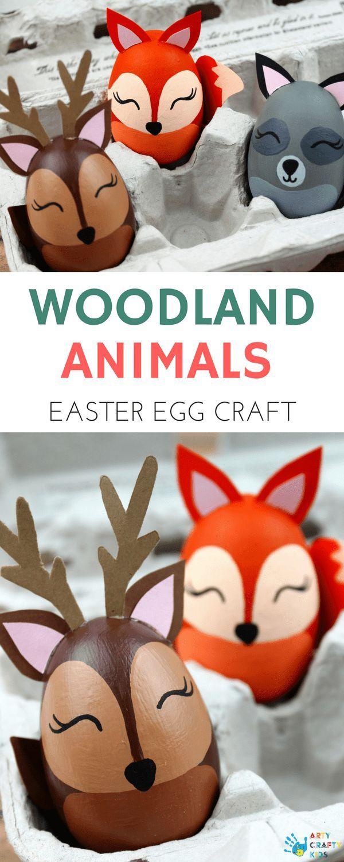 Arty Crafty Kids | Easter Crafts for Kids | Woodland Animal Easter Egg Craft  – Osterdeko & Ostergeschenke selber machen