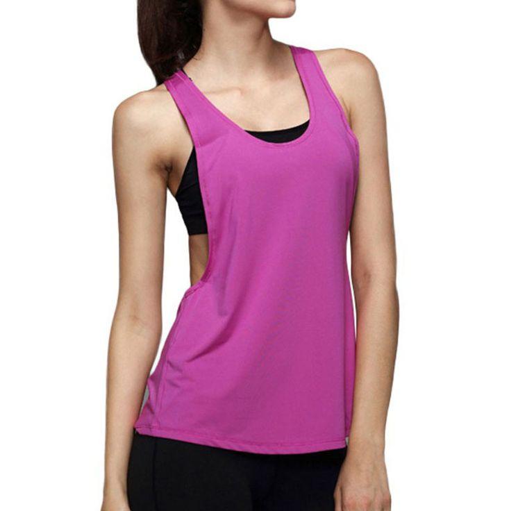 Women simple  Loose Sports Fitness Vest Top Sleeveless Yoga Tank Tops Breathe T-Shirt #Affiliate