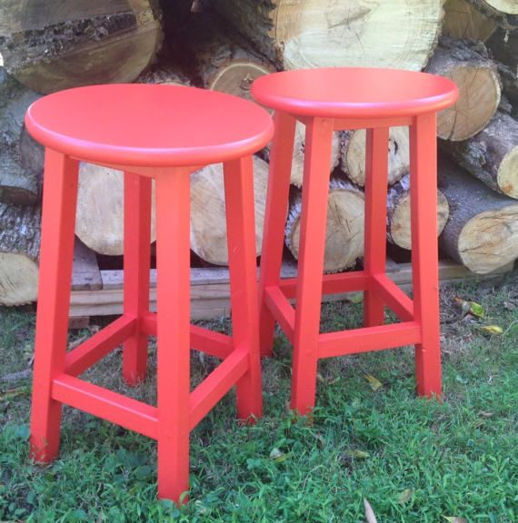 Custom painted and built bar  stools.
