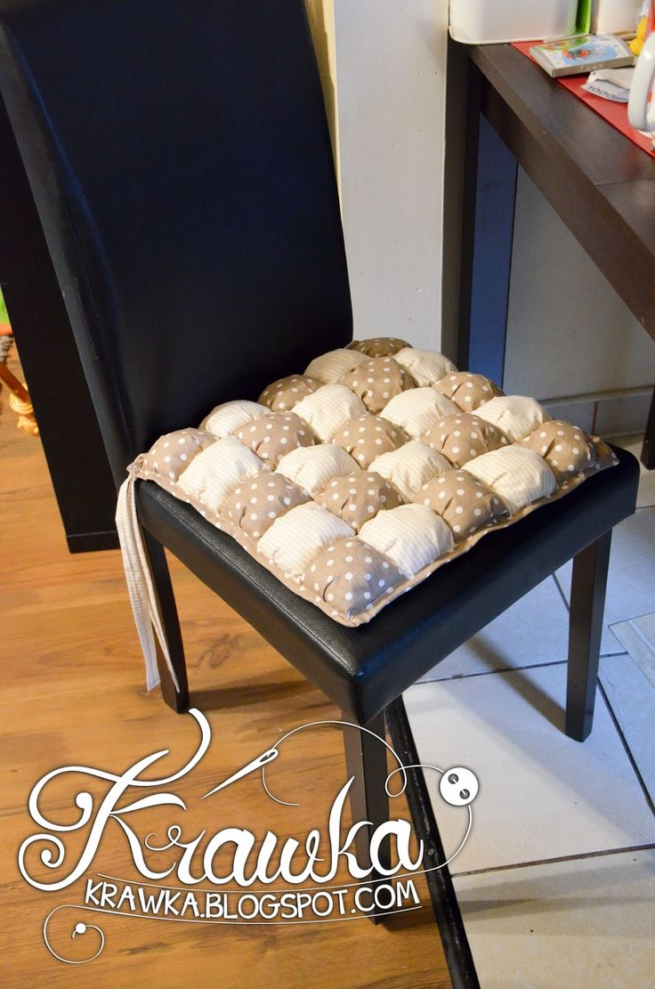 Krawka: Puff quilt - mini tutorial on how I have made four chair cushions using puff quilt technique