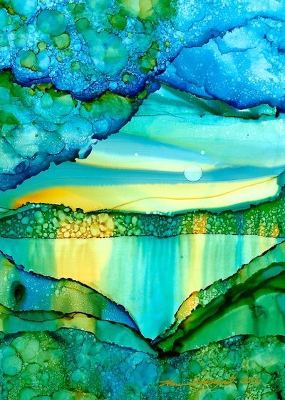 Karen Wysopal Landscape Art paintings gallery.  Alcohol ink on yupo paper. Abstracts and Landscapes.
